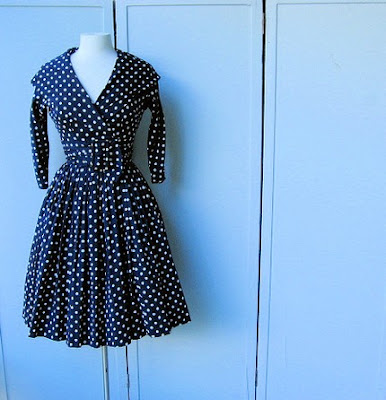 Black  White Polka  Dress on All About Abbie     Some Vintage Polka Dot Etsy Delights
