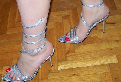 Silver snake tie-up sandals