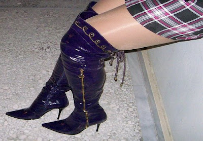 Overknee purple boots