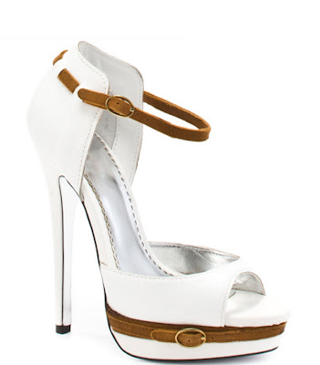 Sexy Heel with white leather upper with tan suede and buckle details