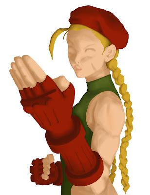 ilustração da personagem Cammy de street fighter com definições de sombra no photoshop