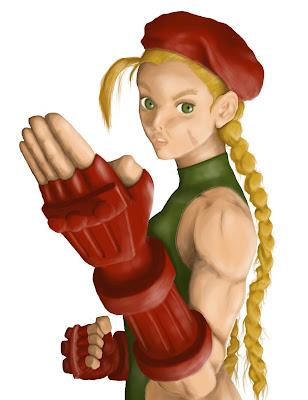 ilustração da personagem Cammy de street fighter com definições de luz no photoshop