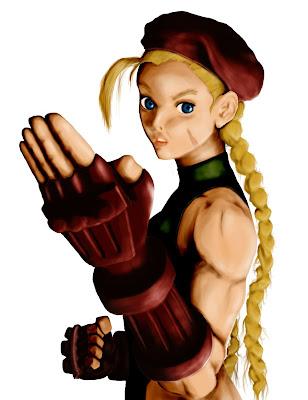 ilustração digital da personagem Cammy de Street Fighter feita no photoshop com luz, sombra e marcação de contraste