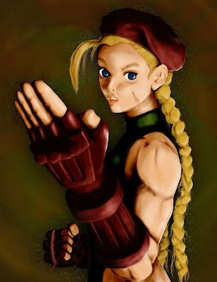 ilustração digital da personagem Cammy de Street Fighter feita no photoshop com luz, sombra e marcação de contraste. Com background