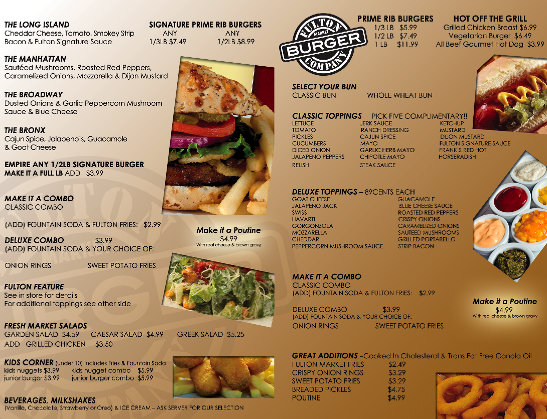 Fulton burger market take out menu design pictures for Take out menu