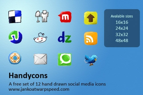 Handycons - a free, hand drawn social media icon set