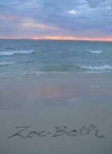 Zoe's name in the sand...