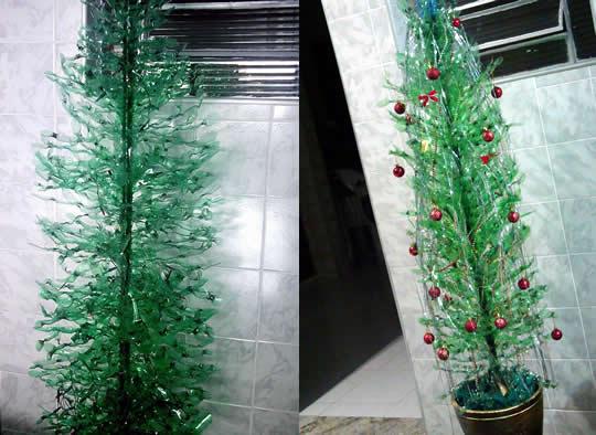 Artesanato: Árvore de Natal de Garrafa Pet - 03