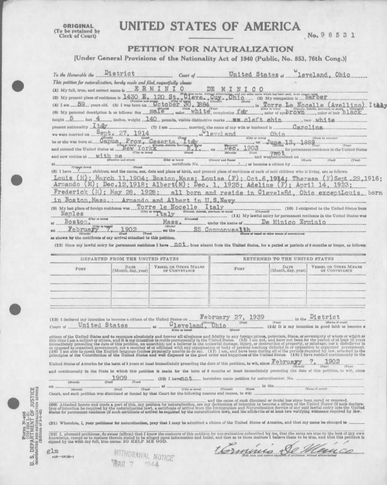 The genealogy of torre le nocelle italy petition for cleveland oh oath of allegiance administered 5 may 1944 petition granted line no 15 list no 1619 certificate no 6366605 aiddatafo Images