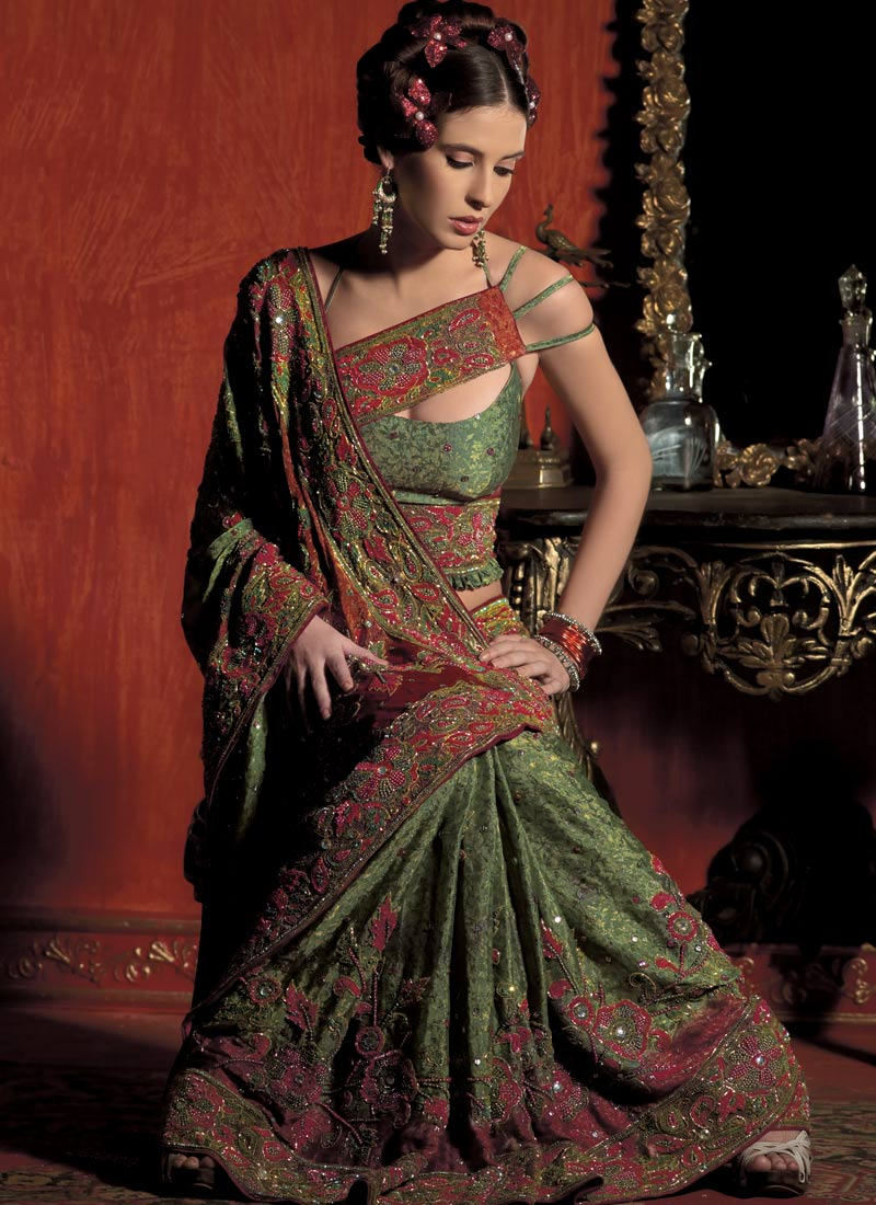 """Beautiful brocade green saree"