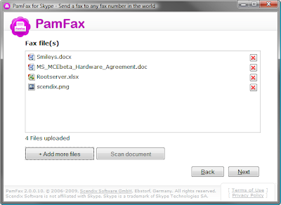 pamfax send fax via skype