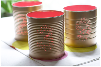 wedding diy tin can table numbers