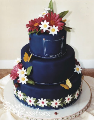 blue jeans wedding cake
