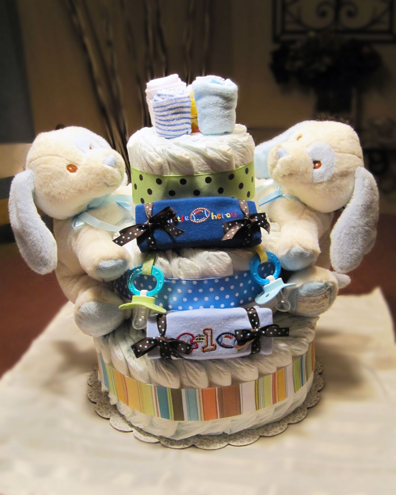 Welcome Twins Small 3 Tier SGD Diaper Cake