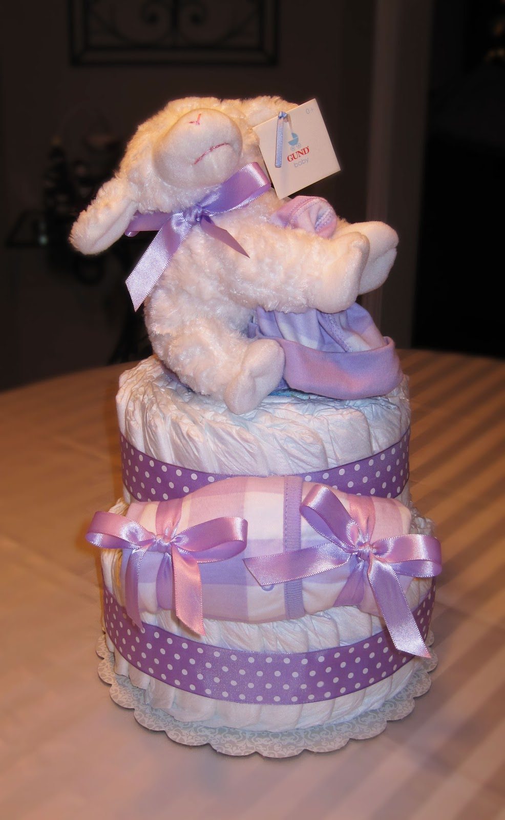 Purple Lamb Large 2 Tier SGD Diaper Cake