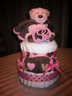 Beary Pink Large 2 Tier SGD Diaper Cake