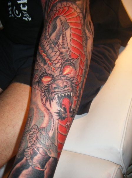 red dragon tattoo. red fire dragon tattoo