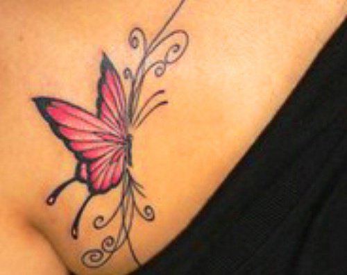 chest piece tattoo. red butterfly - chest piece