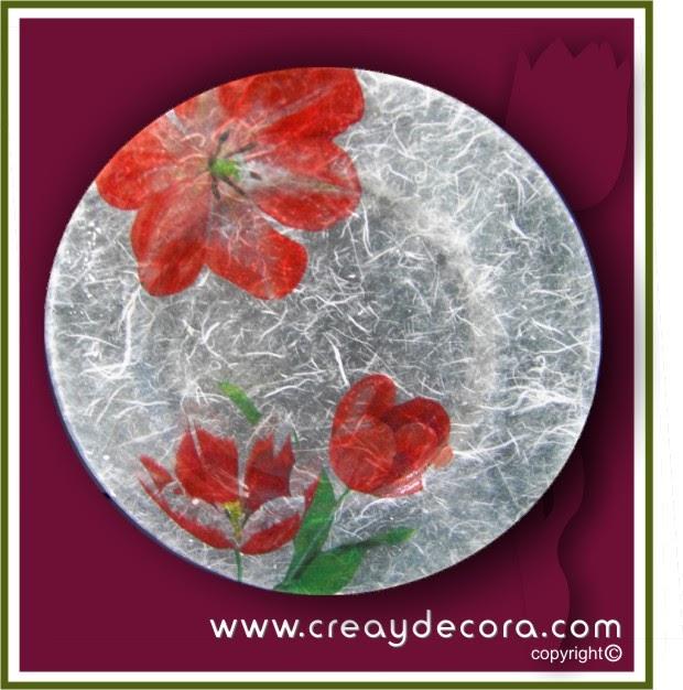 Decoralia manualidades plato decorado con servilletas y - Servilletas de papel decoradas para manualidades ...