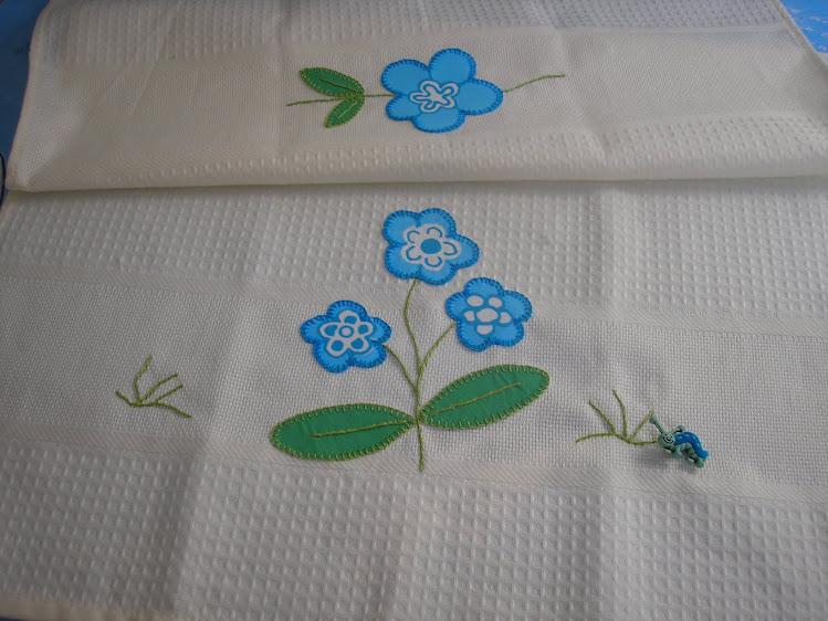 Pano de loiça flor azul