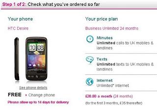 HTC Desire Business Tariff