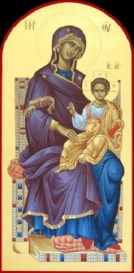 maica domnului cu fiul pe tron