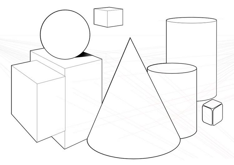 three dimensional shapes coloring pages - photo#8