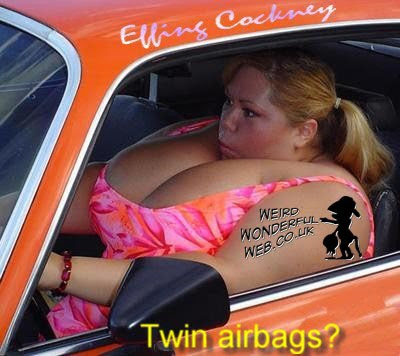IMAGE: Large breasted lady in car