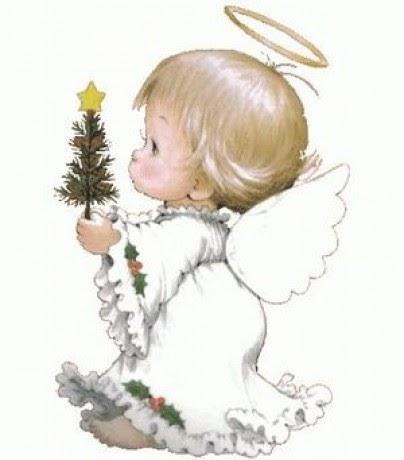 Рисунок ангелочек с подарком 74