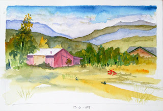 Watercolor and pencil Plein Air Sketch, 'Red Barn September' by Steve Penberthy