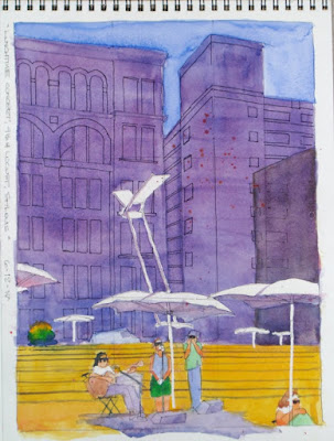 Watercolor sketch by Steve Penberthy, Lunchtime at the Public Library Concert, 9th & Locust, St. Louis