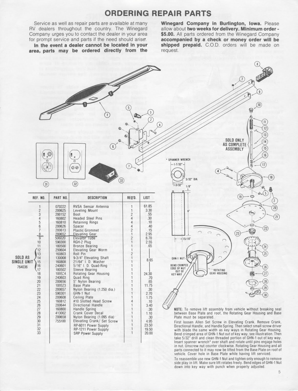 Van Parts Manchester >> 1983 Fleetwood Pace Arrow Owners Manuals: Winegard RV tv antenna owners and operation Manual