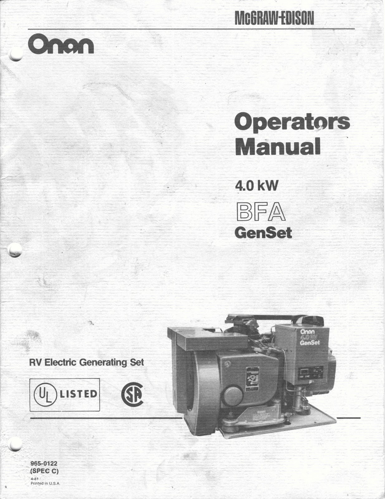 ONAN 4.0 KW BFA Genset Operators Manual