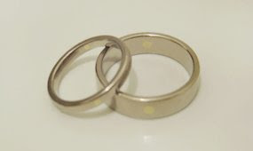 Yellow gold dot inlaid rings. 2005