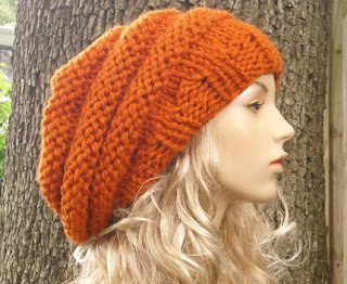 Pixiebell: Oversized Beehive Beret Hat in Pumpkin Orange