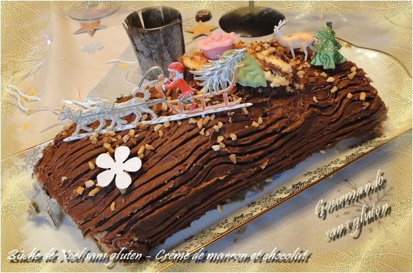Bûche de Noël sans gluten à la crème de marron au chocolat