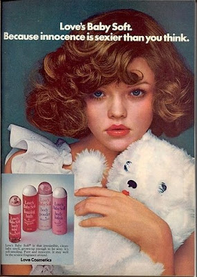 ad for a product called baby soft with a young girl in a sexy pose