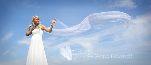 pruut, taeva taustal kangaga