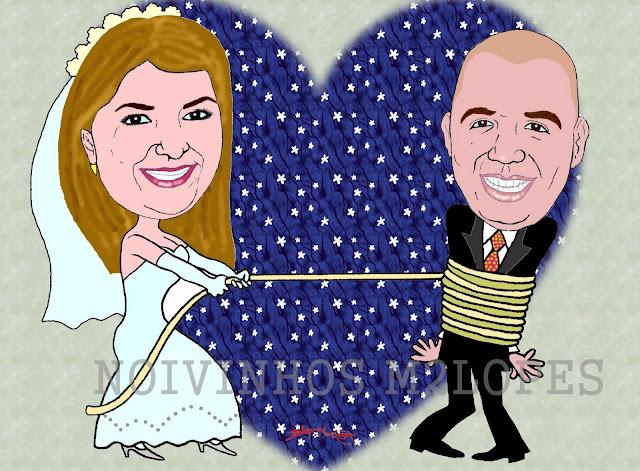 Caricatura de noiva laçando o noivo