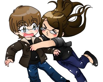 Chibis hugging - photo#18