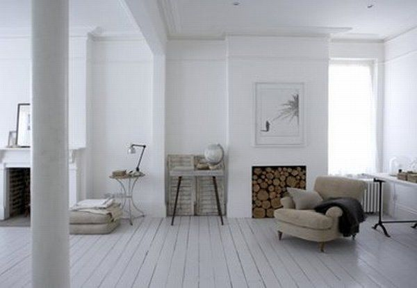Practical living rustic white house for Decoration interieur