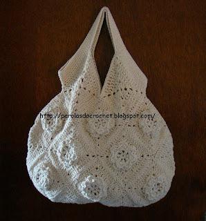 Pérolas do Crochet: Bolsa de crochet feita com barbante - PAP