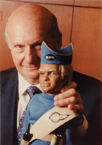 Gerry Anderson with Thunderbirds puppet Alan Tracy