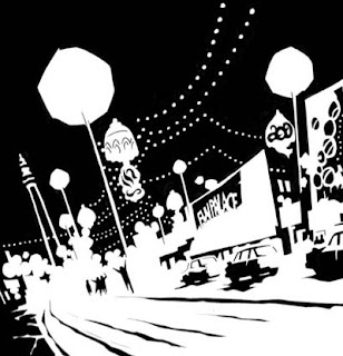 Blackpool seafront as it appears in Channel Evil, art by Shane Oakley