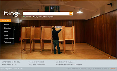 Bing UK election homepage