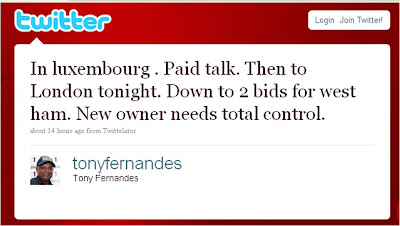 Tony Fernandes West Ham United takeover tweet Twitter