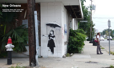 Banksy New Orleans Rain Girl