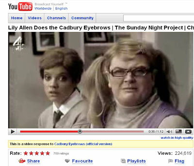 Lily Allen Alan Carr Cadbury Eyebrows spoof