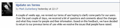 Mark Zuckerburg announces cancellation of Facebook terms of service update