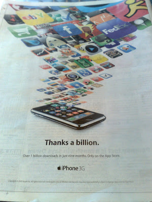 Apple iPhone Apps thanks a billion newspaper ad